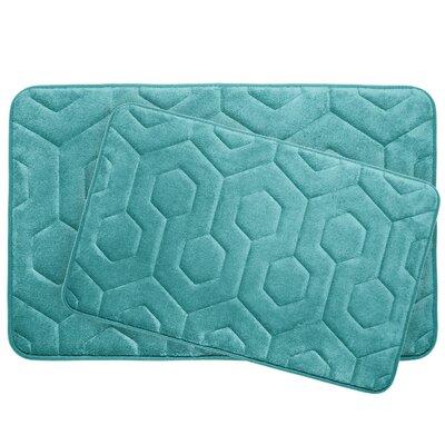 Hexagon 2 Piece Plush Memory Foam Bath Mat Set Color: Turquoise