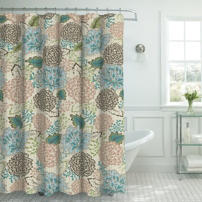 Oxford Fabric Weave Textured Floral Shower Curtain Set