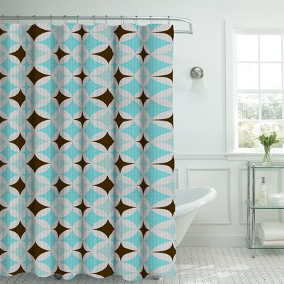 Oxford Fabric Weave Textured Geometric Shower Curtain Set