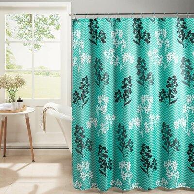 Diamond Weave Textured Shower Curtain Set Color: Turquoise