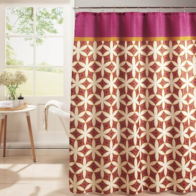 Diamond Weave Textured Shower Curtain Set Color: Pink/Orange