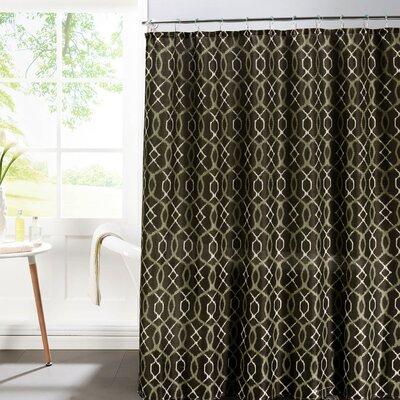 Faux Linen Textured Shower Curtain Set Color: Espresso