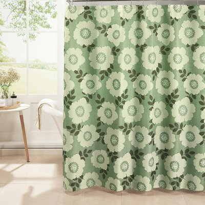 Diamond Weave Textured Shower Curtain Set Color: Sage/Ivory