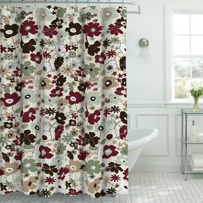 Oxford Fabric Weave Textured Shower Curtain Set Color: Sage/Chocolate