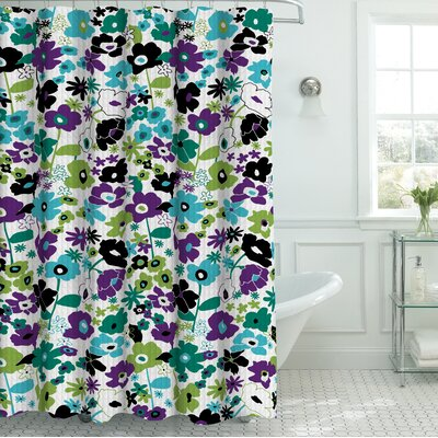 Oxford Fabric Weave Textured Shower Curtain Set Color: Jewel