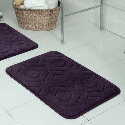 """Belhaven Plush Memory Foam Bath Mat Color: Plum, Size: 20"""" W x 34"""" L"""