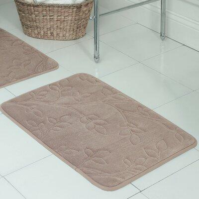 "Spring Leaves Micro Plush Memory Foam Bath Mat Size: 17"" H x 24"" W x 0.5"" D, Color: Linen"