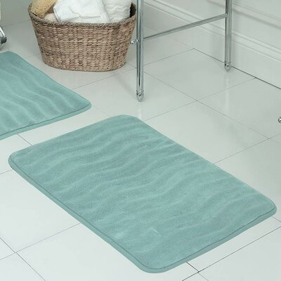 "Behnke Micro Plush Memory Foam Bath Mat Color: Aqua, Size: 20"" W x 32"" L"