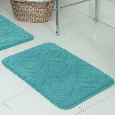 """Belhaven Plush Memory Foam Bath Mat Color: Turquoise, Size: 20"""" W x 34"""" L"""