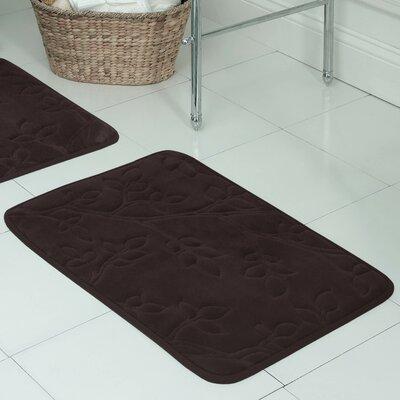"Spring Leaves Micro Plush Memory Foam Bath Mat Size: 17"" H x 24"" W x 0.5"" D, Color: Espresso"