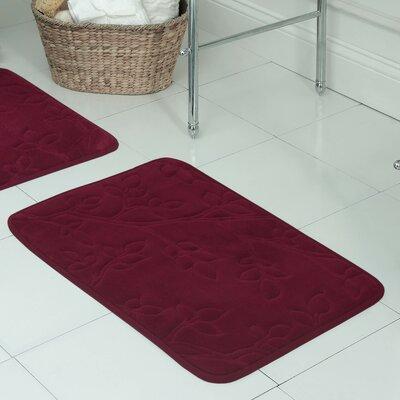 "Spring Leaves Micro Plush Memory Foam Bath Mat Size: 17"" H x 24"" W x 0.5"" D, Color: Barn Red"