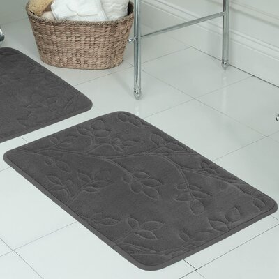 "Spring Leaves Micro Plush Memory Foam Bath Mat Size: 17"" H x 24"" W x 0.5"" D, Color: Dark Grey"