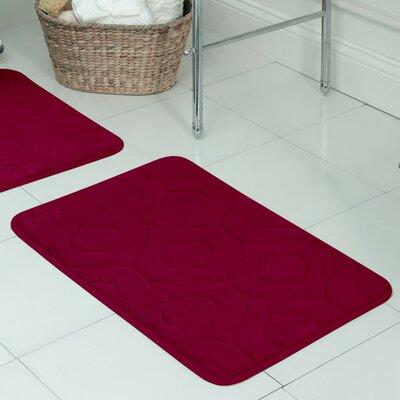"Belhaven Plush Memory Foam Bath Mat Color: Barn Red, Size: 20"" W x 34"" L"
