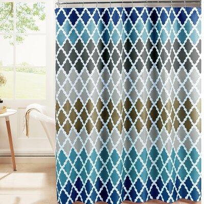 Hainesville Weave Textured Shower Curtain Set Color: Blue