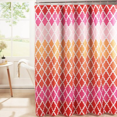 Hainesville Weave Textured Shower Curtain Set Color: Pink