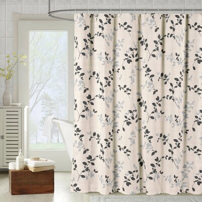 Meridian Printed Cotton Blend Shower Curtain Color: Charcoal