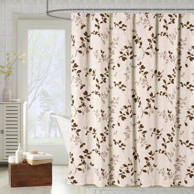 Meridian Printed Cotton Blend Shower Curtain Color: Taupe