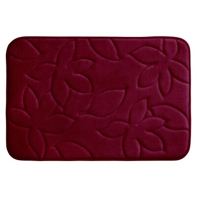 "Blowing Leaves Plush Memory Foam Bath Mat Color: Barn Red, Size: 17"" X 24"""