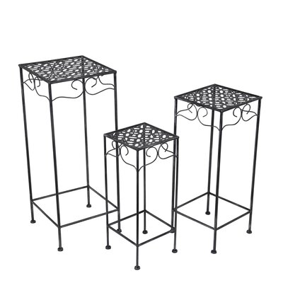 Schneider 3 Piece Metal/Glass Nesting Plant Stand