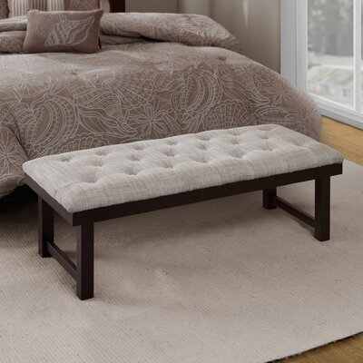Whitley Wood Bench Upholstery: Sand, Leg Color: Espresso