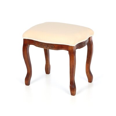 Snowberry Hand Carved Cushioned Top Vanity Stool