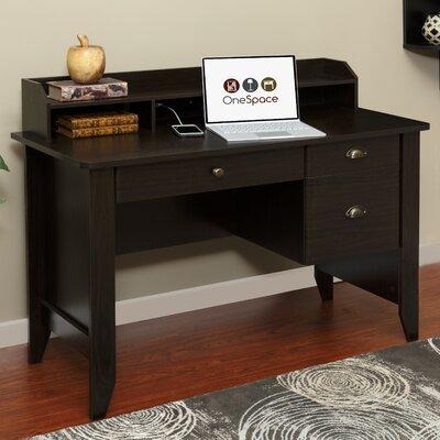 "Baker Computer Desk with Hutch Size: 36.25"" H x 47.25"" W x 21.5"" D, Color: Espresso"