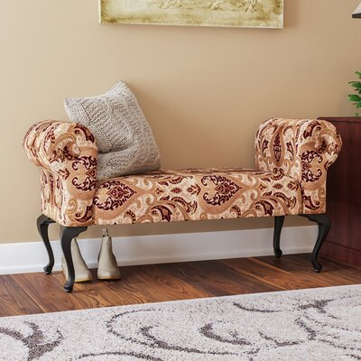 Deford Cabriole Legs Upholstered Bench Upholstery: Monte Crist Wine