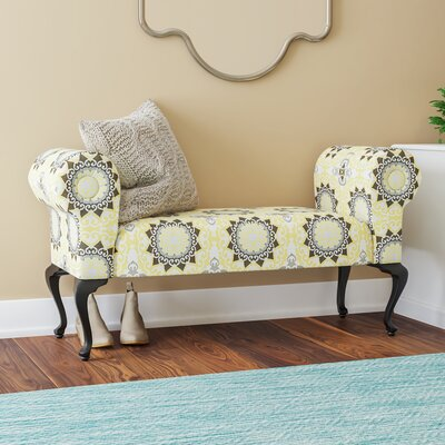 Deford Cabriole Legs Upholstered Bench Upholstery: Yellow / Black