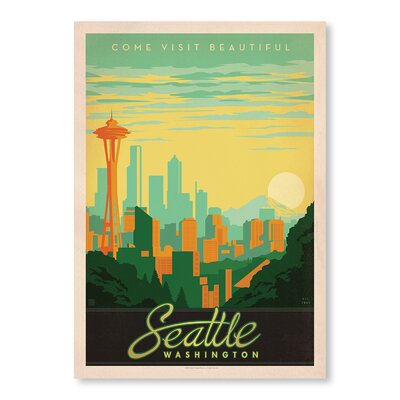 Americanflat Seattle Washington by Anderson Design Group Vintage Advertisement Wrapped on Canvas