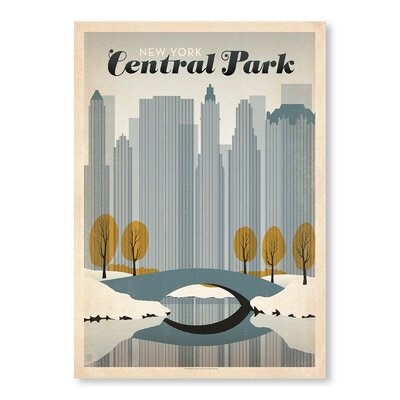 Americanflat Central Park NYC Vintage Advertisement Wrapped on Canvas