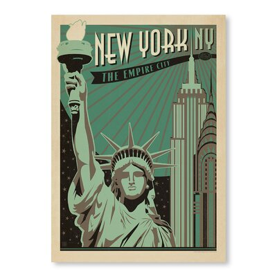 Americanflat New York Empire City Vintage Advertisement Wrapped on Canvas