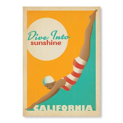 Americanflat Dive into Sunshine California by Anderson Design Group Vintage Advertisement Wrapped on Canvas