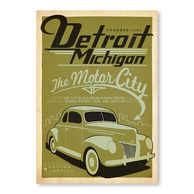 Americanflat Detroit Michigan Vintage Advertisement Wrapped on Canvas