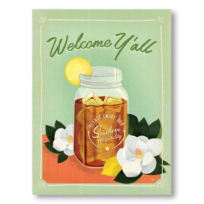 Americanflat Welcome Y'all Iced Tea by Anderson Design Group Vintage Advertisement Wrapped on Canvas