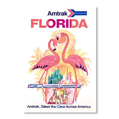 Americanflat Florida Amtrak by Chad Hyde Vintage Advertisement in Pink