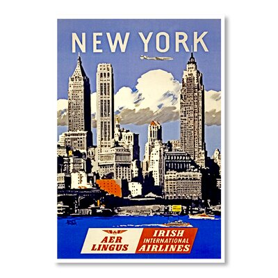 Americanflat New York Aer Lingus by Chad Hyde Vintage Advertisement in Blue