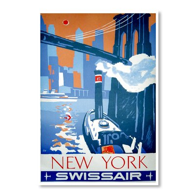 Americanflat New York Swiss Air by Chad Hyde Vintage Advertisement Wrapped on Canvas