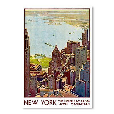 Americanflat New York Upper Bay by Chad Hyde Vintage Advertisement Wrapped on Canvas