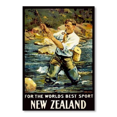 Americanflat New Zealand Fishing by Chad Hyde Vintage Advertisement on Canvas