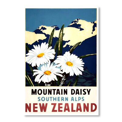 Americanflat New Zealand Mountain Daisy by Chad Hyde Vintage Advertisement Wrapped on Canvas