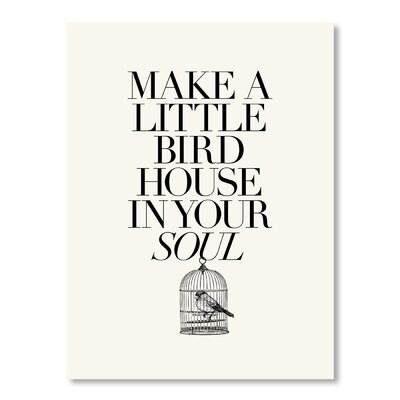 Americanflat Make a Little Birdhouse by Brett Wilson Typography Wrapped on Canvas