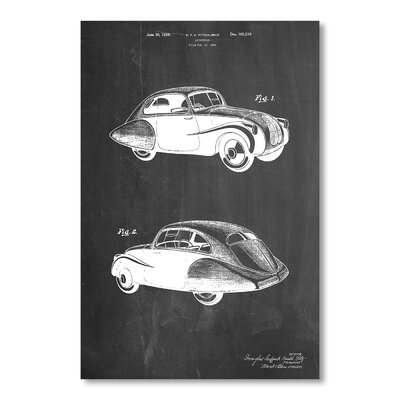 Americanflat Automobile 1936 by House of Borders Graphic Art in Grey