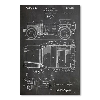 Americanflat Willys Jeep by House of Borders Graphic Art in Grey