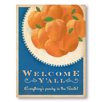 Americanflat Welcome Y'all Peaches by Anderson Design Group Vintage Advertisement Wrapped on Canvas