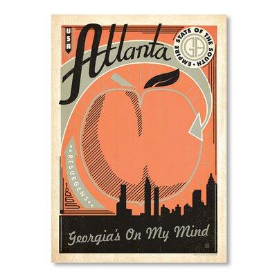 Americanflat Atlanta Vintage Advertisement Wrapped on Canvas