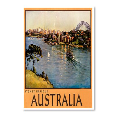 Americanflat Australia Sydney Harbor by Chad Hyde Vintage AdvertisementWrapped on Canvas