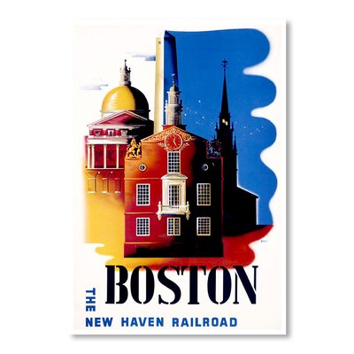 Americanflat Boston Rail Road by Chad Hyde Vintage Advertisement on Canvas