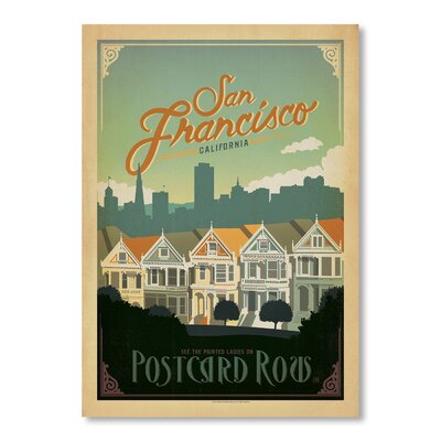 Americanflat San Francisco Postcard Row by Anderson Design Group Vintage Advertisement in Blue