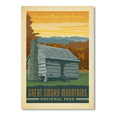 Americanflat National Park Great Smoky Mountains by Anderson Design Group Vintage Advertisement in Brown and Grey