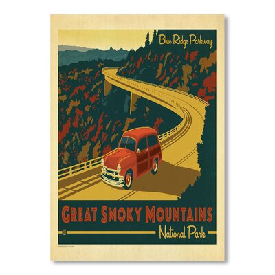Americanflat National Park Great Smoky Mountains by Anderson Design Group Vintage Advertisement in Blue and Yellow